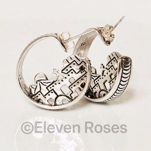 Navajo Jewelry - Navajo Sterling Southwest Cityscape Hoop Earrings